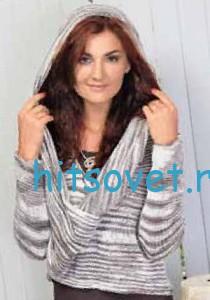 Вязание пуловера с капюшоном из секционки, фото 2.