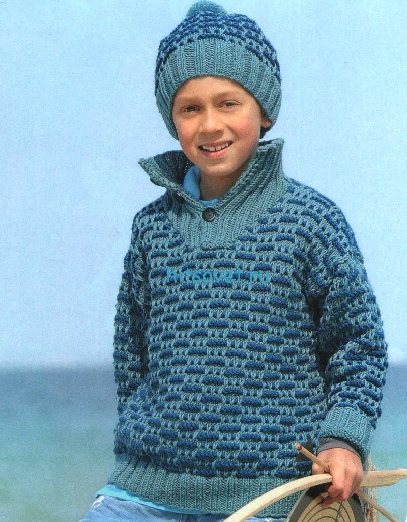 Вязание для мальчиков пуловер и шапочка