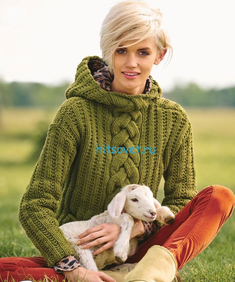 Вязание женского пуловера с капюшоном
