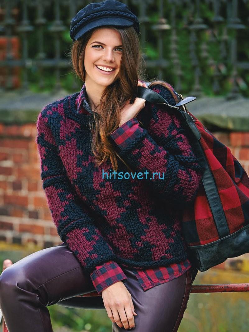Вязание пуловера узором гусиные лапки