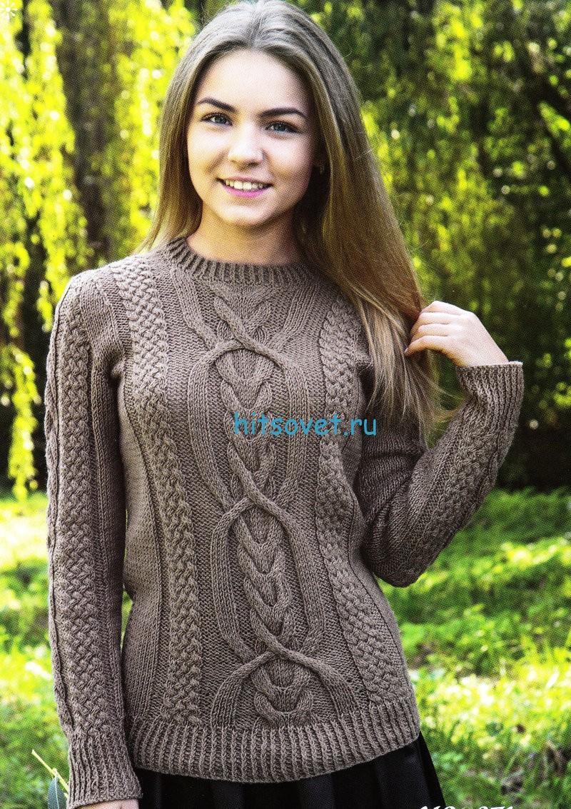 Женский пуловер спицами с красивым узором