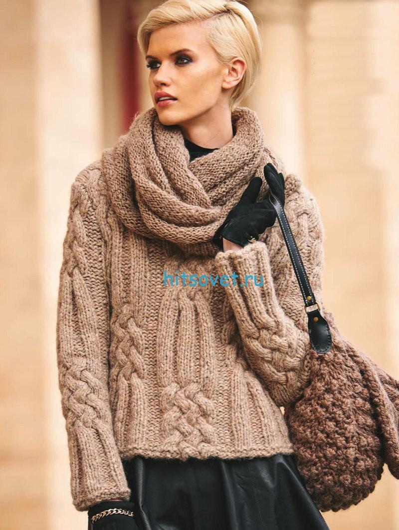 Вязание пуловера с косами из толстой пряжи