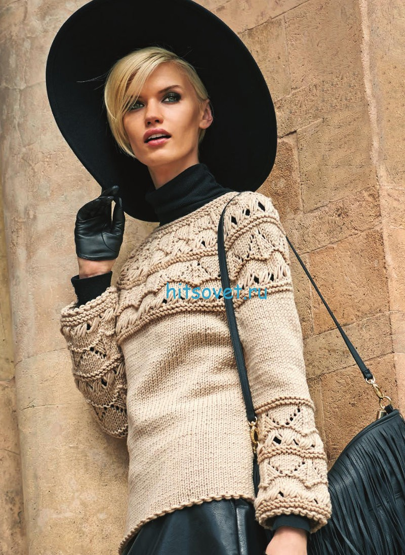 Вязание пуловера с круглой кокеткой схемы