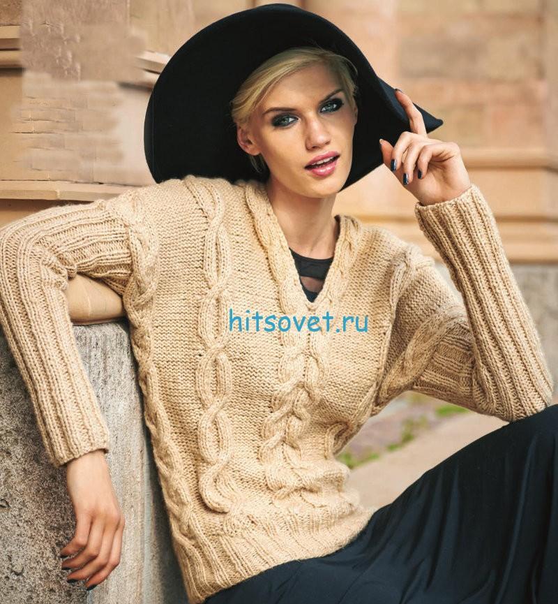 Вязание пуловера с косами схема