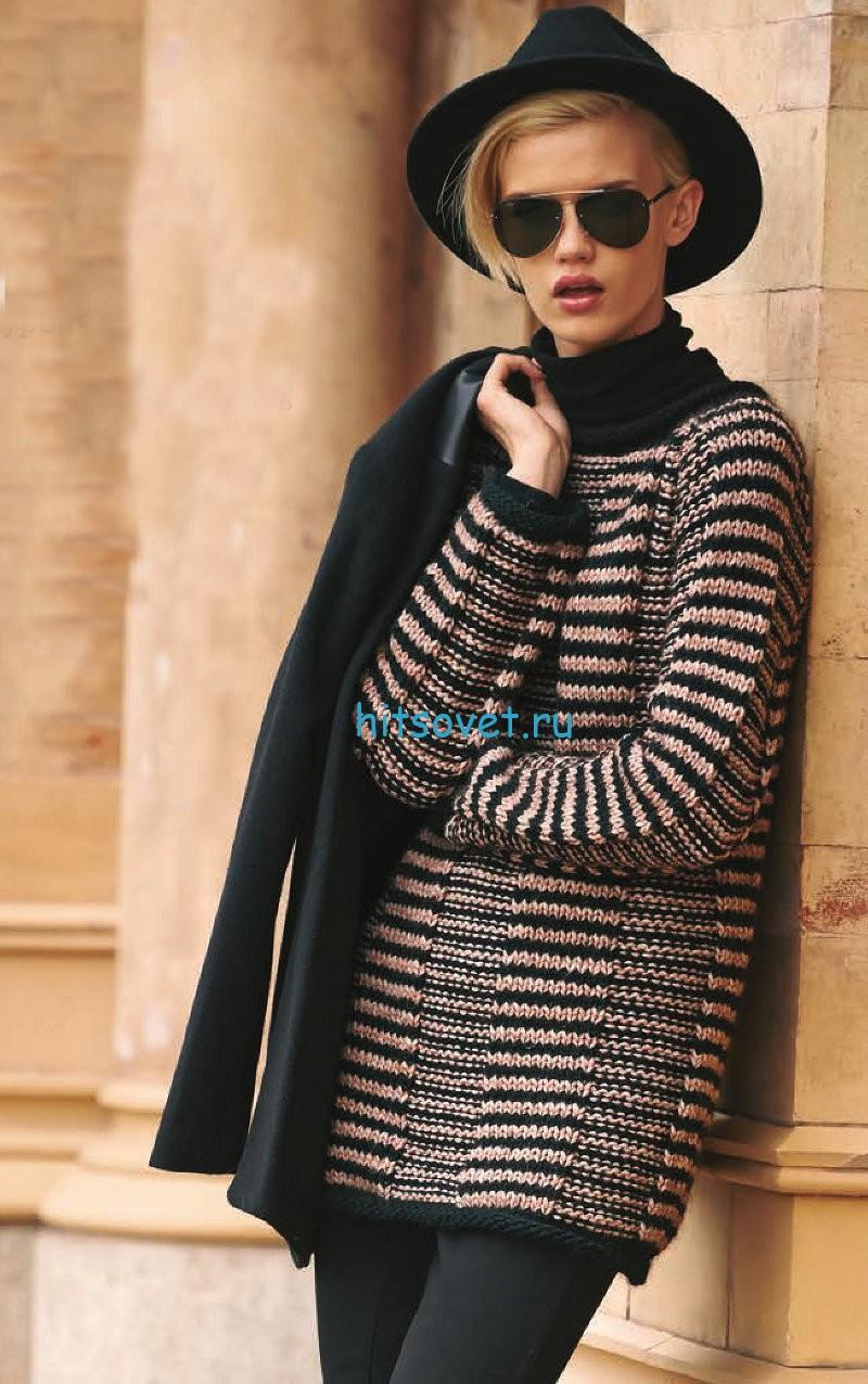 Полосатый пуловер реглан