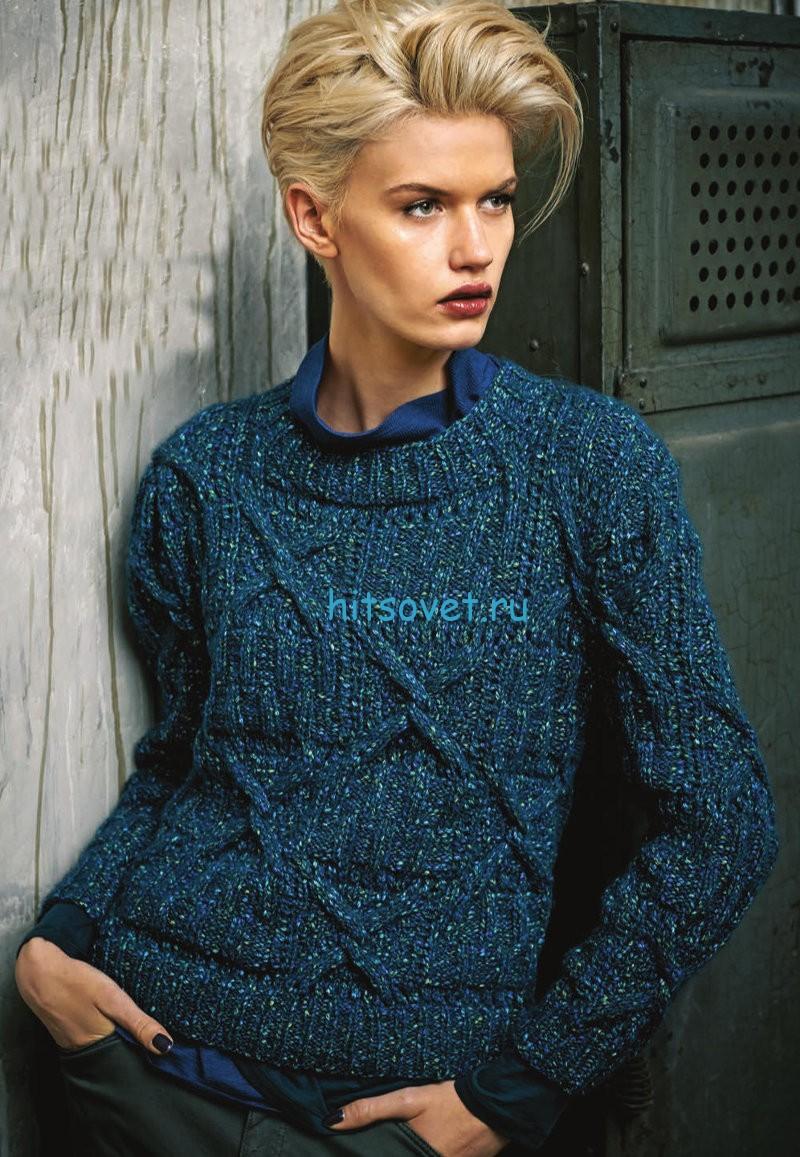 Меланжевый пуловер с рельефным узором