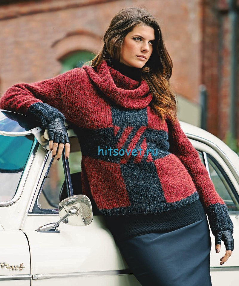 Вязание пуловера интарсией