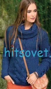 Вязание пуловера и снуда спицами