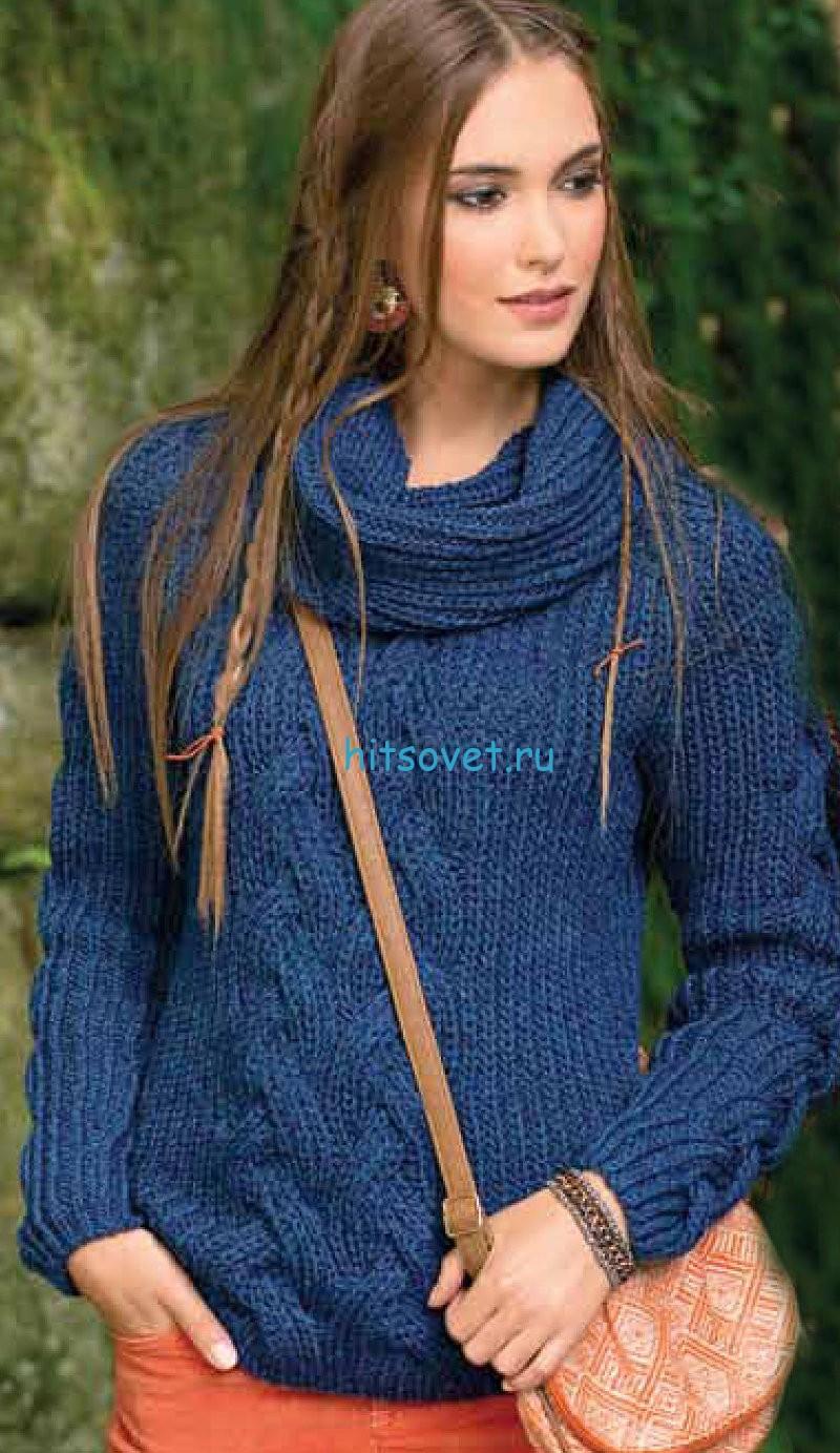Пуловер и снуд спицами