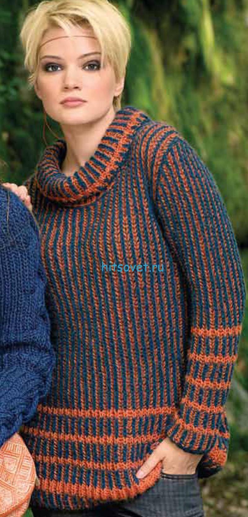 Вязание пуловера двухцветным патентным узором