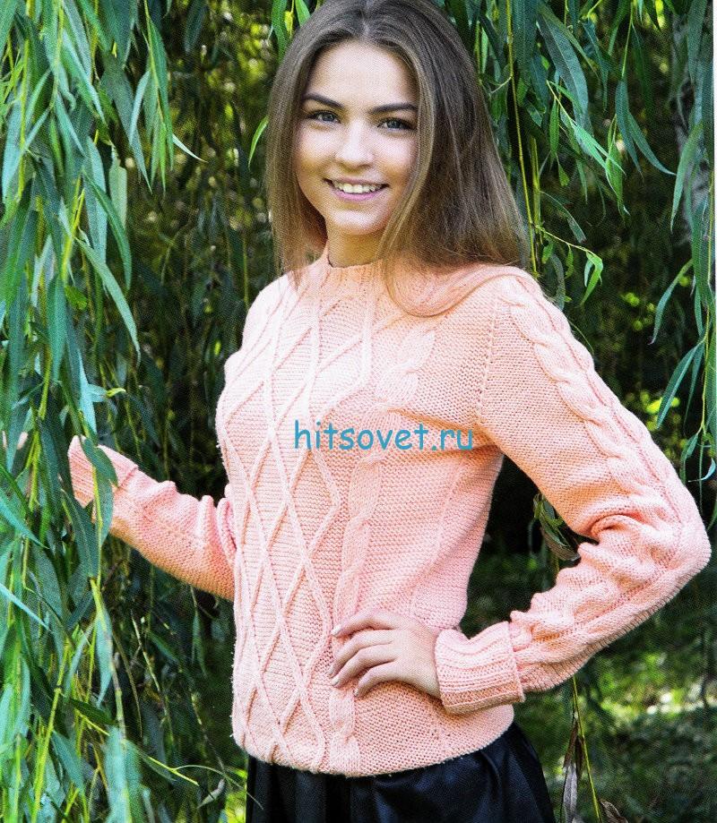 Персиковый пуловер спицами