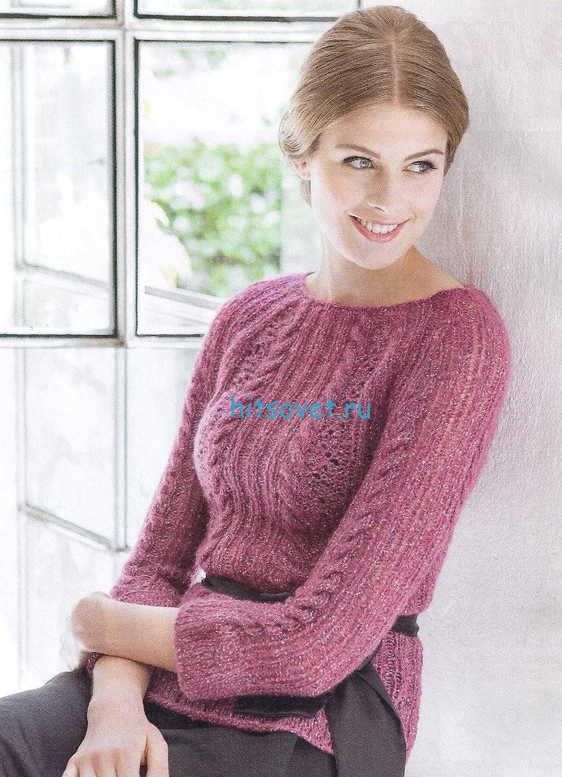 Вязание пуловера с укороченными рукавами