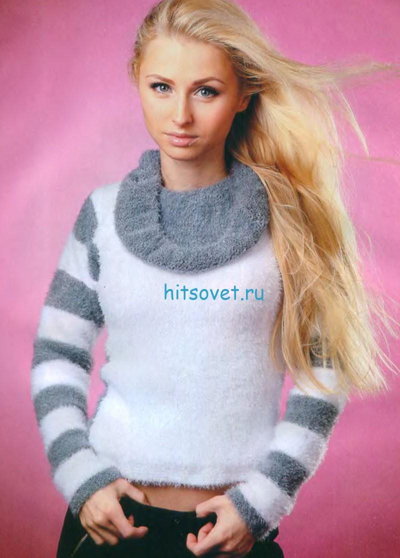 Вязание пуловера с полосатыми рукавами