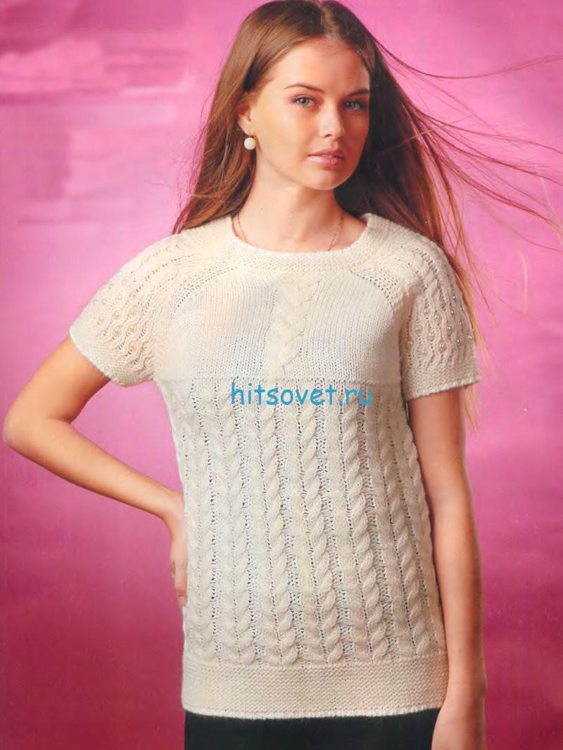 Вязание белого пуловера с короткими рукавами