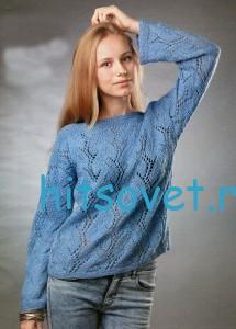 Голубой пуловер спицами со схемой
