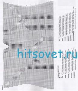 Вязание пуловера с V-образным вырезом, схема А.