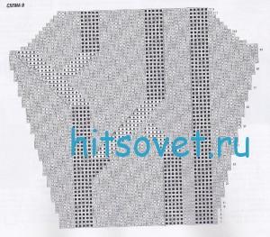 Вязание пуловера с V-образным вырезом, схема В.
