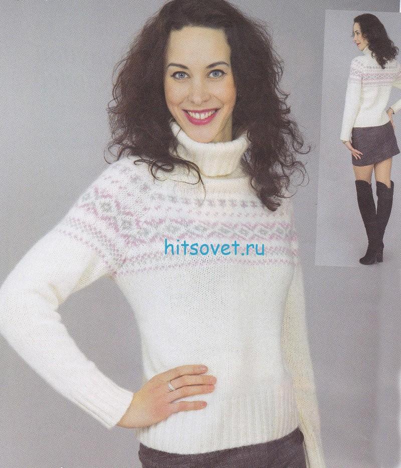 Вязание свитера с жаккардовым узором, фото.
