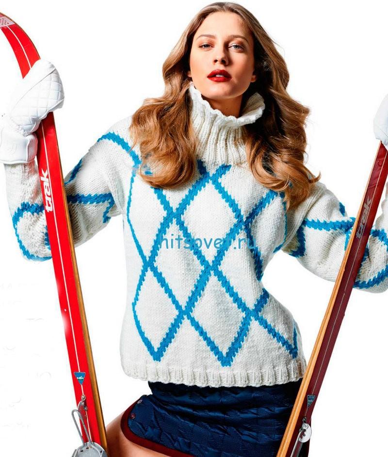 Вязание свитера с ромбами, фото.