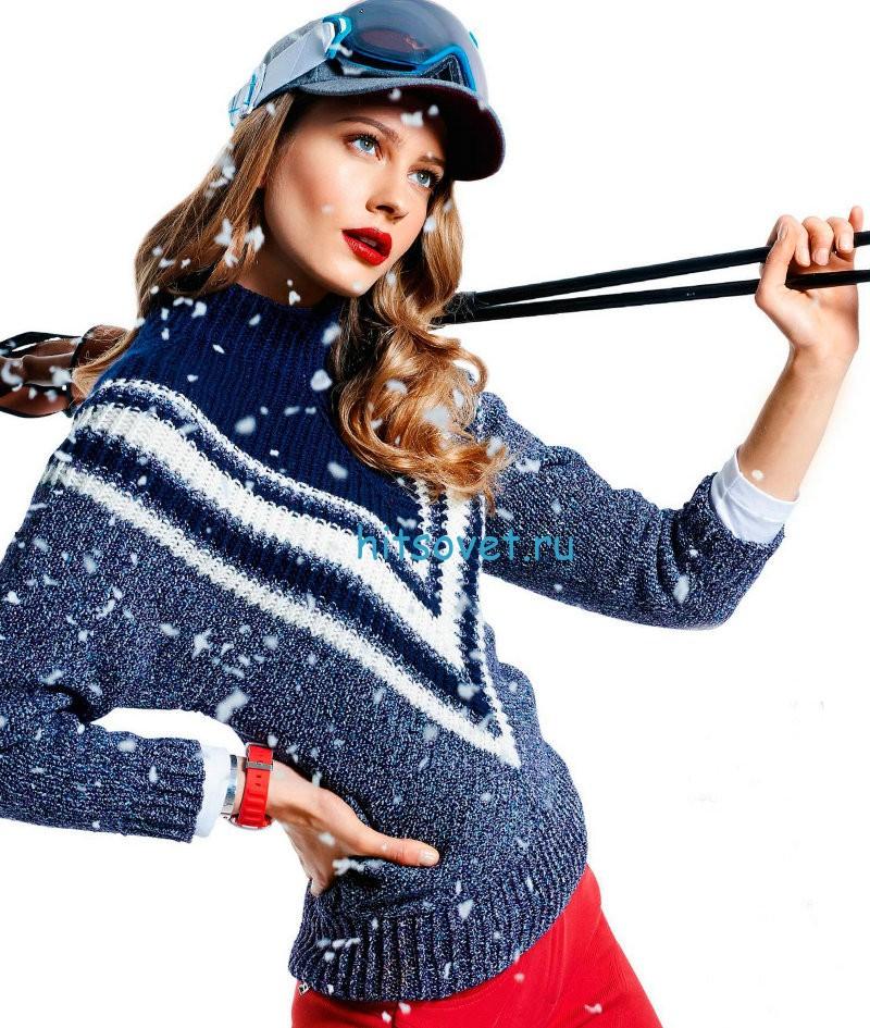 Вязание свитера с графическим узором, фото.