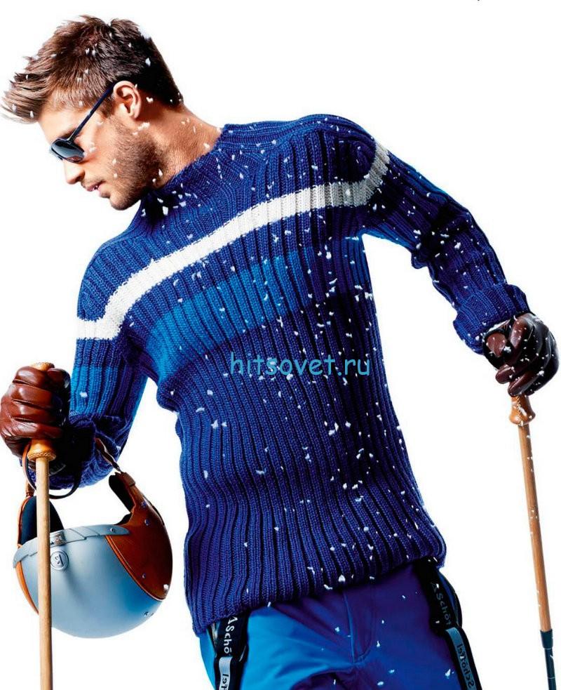 Мужской свитер спицами из шерсти