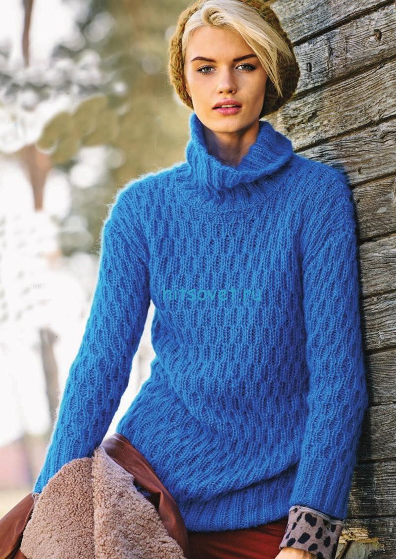Вязание свитера с рельефным узором, фото.