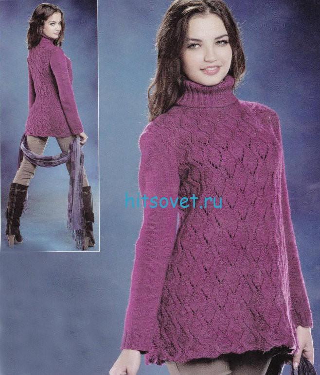 Женский свитер с красивым узором, фото.