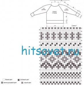 Вязание свитера с жаккардовым узором, схема.