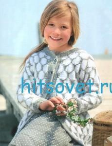 Вязание для девочки жакета и шапочки со схемой, фото 2.