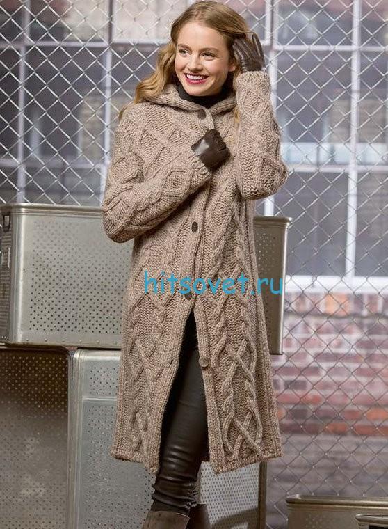 Пальто с капюшоном (ж) 32*214 FAM 4566 Описание в источнике #спицы #вязаное_пальто. Татьяна Нейкова