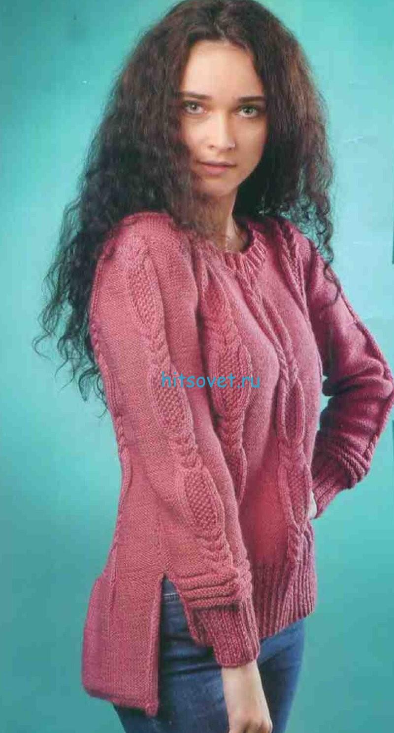 Вязаный  пуловер с удлиненной спинкой