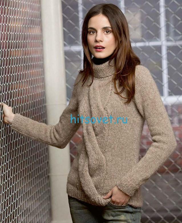 Вязание пуловера с широкой косой