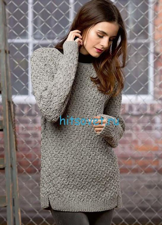 Узорчатый пуловер с описанием