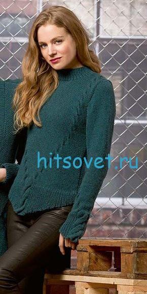 Стильный женский пуловер с косами