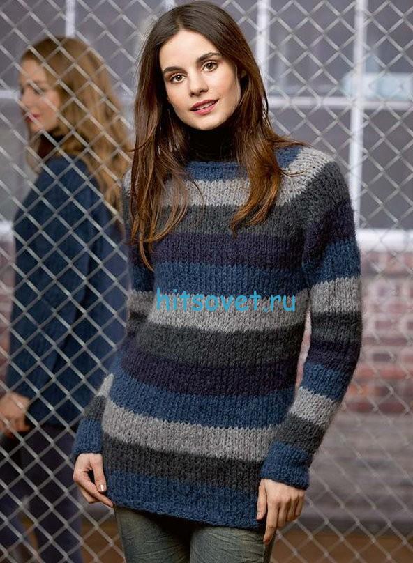 Полосатый пуловер с проймой реглан