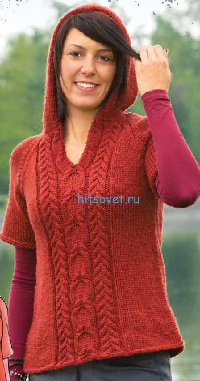 Вязание пуловера с капюшоном и косами, фото.