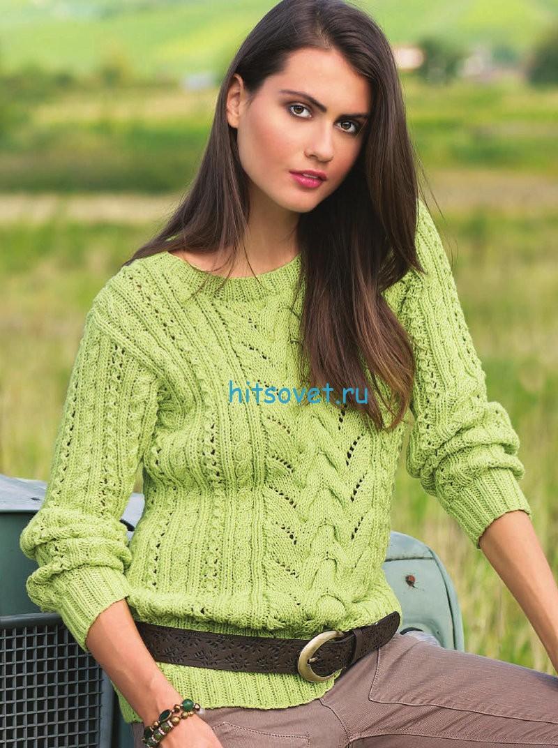 Пуловер с косами со схемой