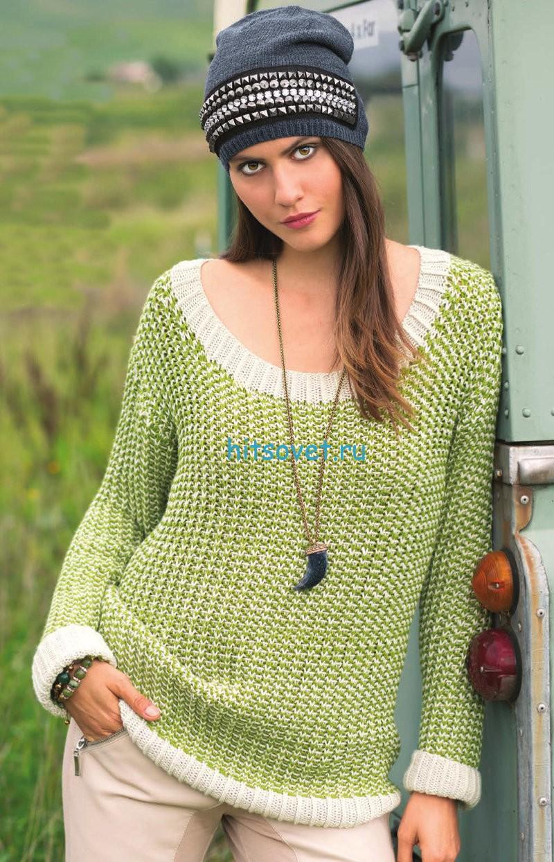 Вязание пуловера с узором из снятых петель