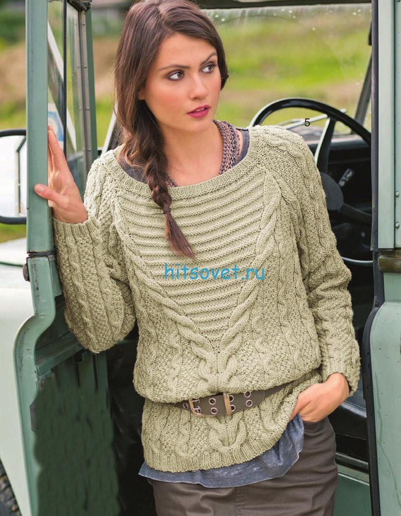 Модный пуловер с косами схема