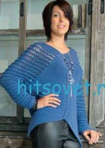 Женский пуловер с ажурными плечами, фото 2.