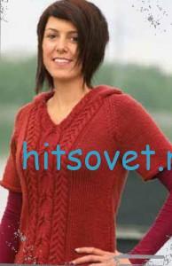 Вязание пуловера с капюшоном и косами, фото 2.
