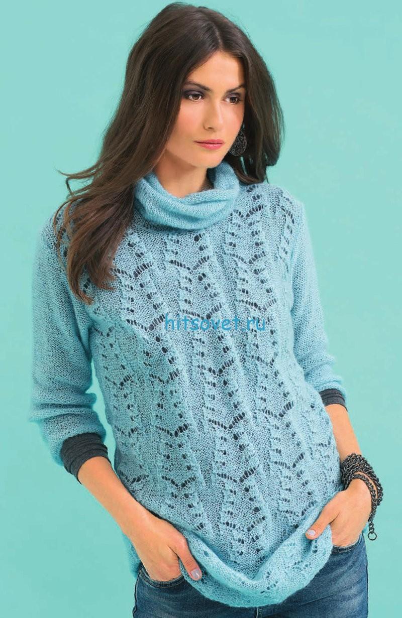 Вязаный пуловер с красивым ажурным узором