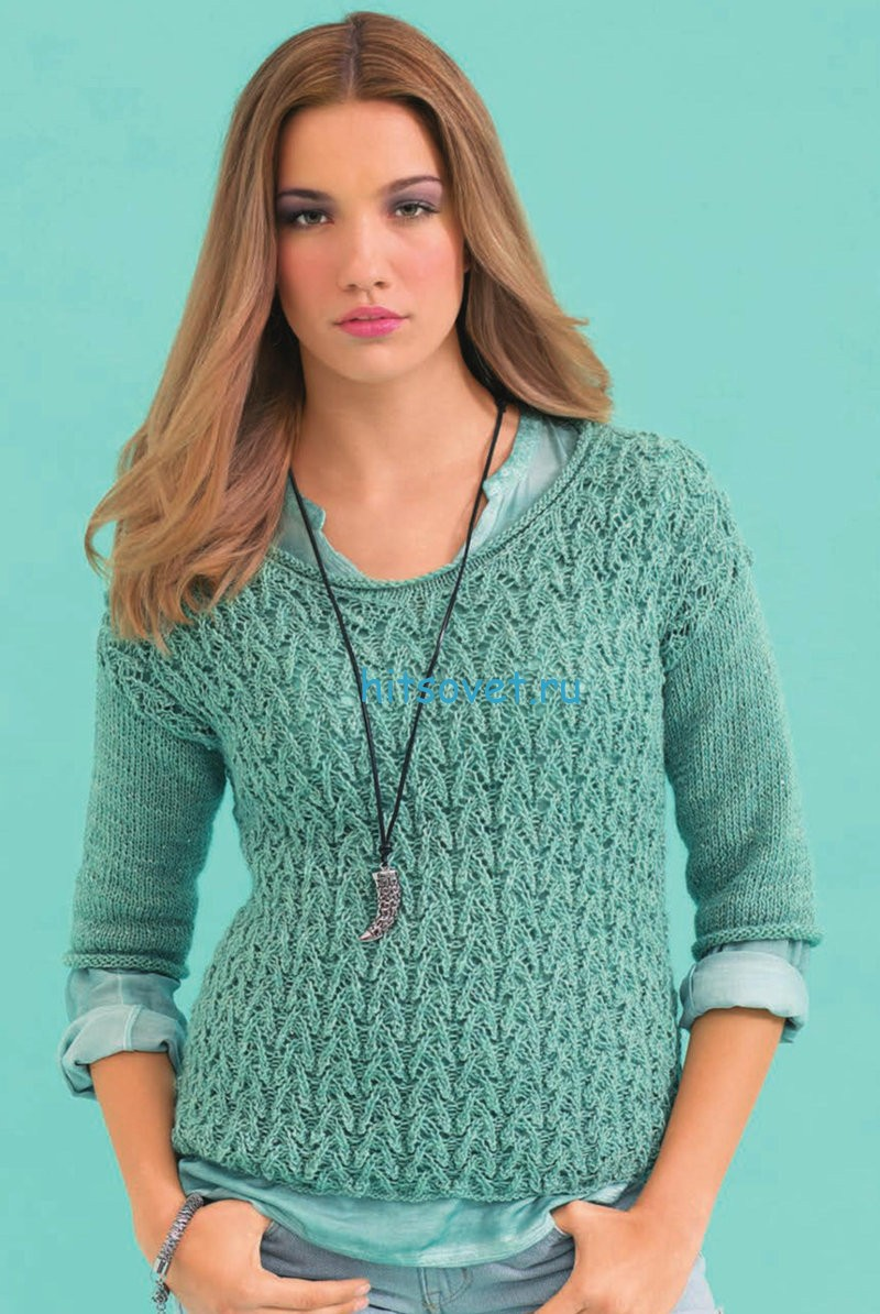 Ажурный пуловер с короткими рукавами для девушки