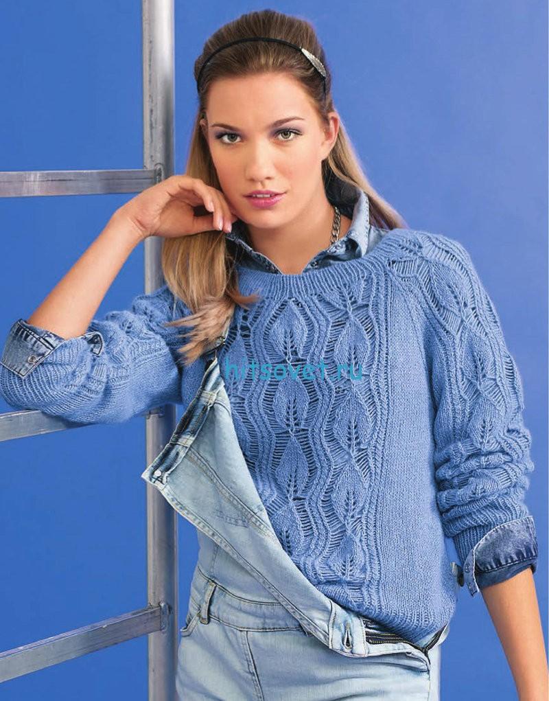 Вязание пуловера с узором из листьев