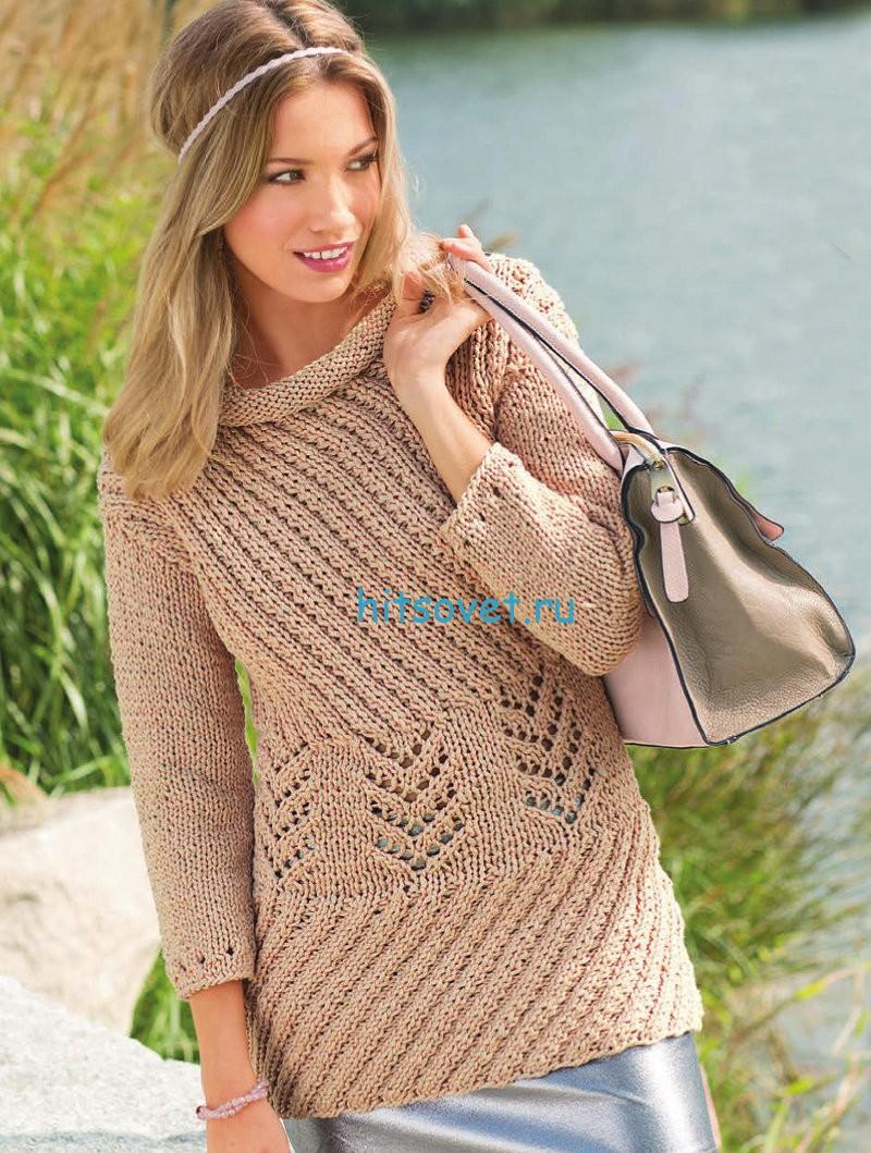 Вязание пуловера с диагональными узорами, фото.