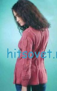 Вязаный  пуловер с удлиненной спинкой, фото 3.