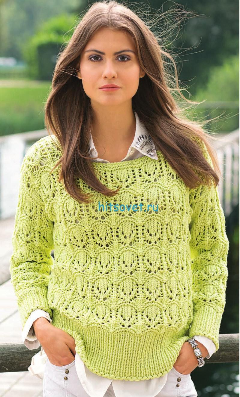 Ажурный пуловер с красивым узором схема