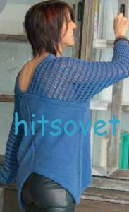 Женский пуловер с ажурными плечами, фото 3.