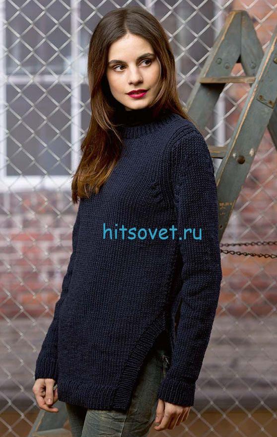 Женский пуловер с разрезами