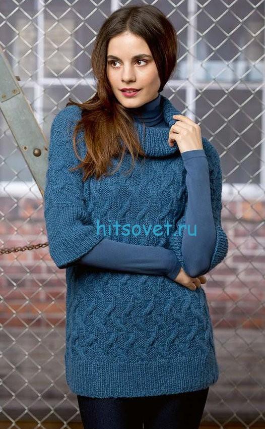 Женский пуловер с рельефным узором